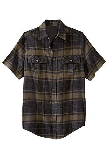 Liberty Blues Men's Big & Tall Cut-Off Short-Sleeve Flannel - Big - 2XL, Olive Brush Plaid