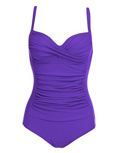 Ekouaer Monokinis Womens Vintage Retro Bathing Suit Inspired Fashion Figures One Piece Swimsuit(Purple,Medium)