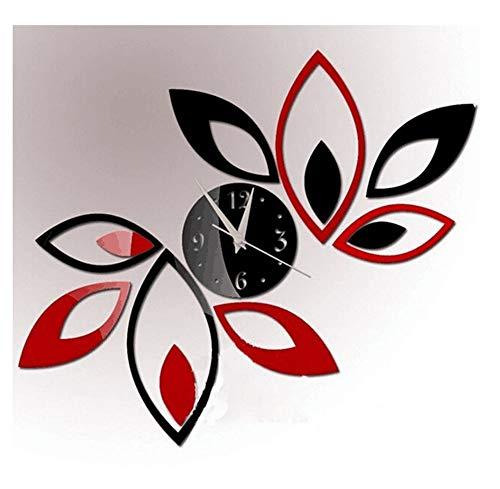 Creatieve Rode en Zwarte Diamant Blad Wandklok Mode Modern Ontwerp Afneembare DIY Acryl 3D Spiegel Muursticker Decoratie