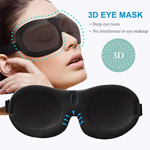 YIVIEW Sleep Mask Pack of 3, Lightweight and Comfortable, Super Soft, Adjustable 3D Contoured Eye Masks for Sleeping, Shift Work, Naps, Night Blindfold Eyeshade for Men and Women, Black/Blue/Purple