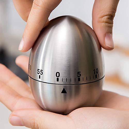 Eierförmiger Küchentimer aus Edelstahl, mechanischer Koch-Timer, 60 Minuten Countdown-Timer für Küche, Büro, Schlafzimmer