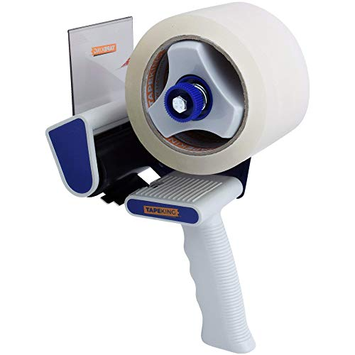 Tape King TX300 3 Inch Wide Packing Tape Dispenser Gun - Plus 1 Free Roll of Packaging Tape - Side Loading 3' Lightweight Ergonomic Industrial Gun for Shipping, Moving, Carton and Box Sealing