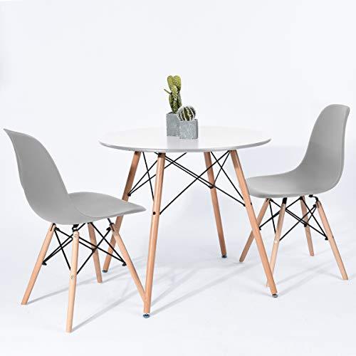 H.J WeDoo Skandinavien Essgruppen mit Kleiner Tisch und 2 Stühlen Geeignet für Esszimmer Küche Wohnzimmer Couthtisch Kaffeetisch für Balkon