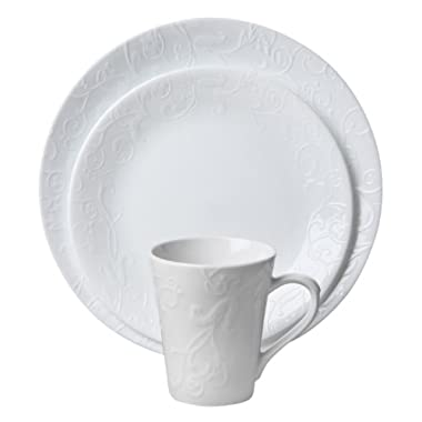 Corelle Embossed Bella Faenza 16-Piece Dinnerware Set, Service for 4, White (1114995)