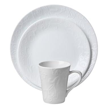 Corelle Embossed Bella Faenza 16-Piece Dinnerware Set, Service for 4, White (1114995)