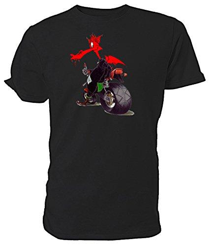Biker-T-Shirt mit walisischem Drachen., Schwarz - Schwarz - Größe: Medium