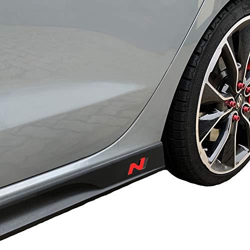 PrintAttack P042 | Emblem N-Performance Seitenschweller 2er-Set Aufkleber Folie | 751 Oracal/3M Carbon | Car Styling | Dekorset (Rot/Carbon/Schwarz)