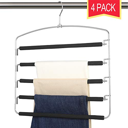 Giftol Pants Hangers 5 Layers Stainless Steel Non-Slip Foam Padded Swing Arm Space Saving Clothes Slack Hangers Closet Storage Organizer for Pants Jeans Trousers Skirts Scarf Ties Towels(Pack of 4)
