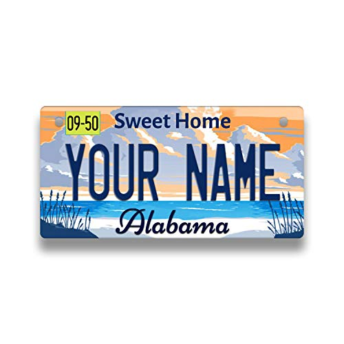 Bleu Reign Personalized Custom Name Alabama State Bicycle Bike Stroller Children's Toy Car 3'x6' License Plate Tag