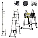 Telescoping Ladder A Frame 8ft / Straight Ladders 16.5ft Folding Extension Step Ladders Aluminum Compact Retractable for Business Home Outdoor DIY Builder Supplies, 330lbs Capacity