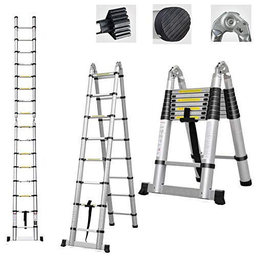 Telescoping Ladder A Frame 8FT/2.5M Straight Ladders 16.5ft Folding Extension Step Ladders Aluminum Compact Retractable for Business Home Outdoor DIY Builder Supplies, 330lbs Capacity