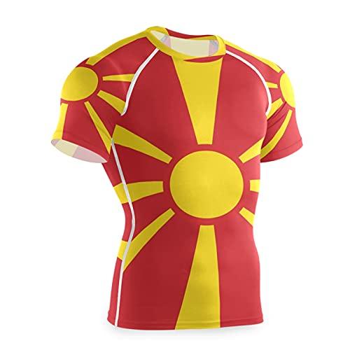 Macedonia Flag - Maglietta da allenamento a maniche corte, a compressione, da uomo Multi L