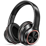LETSCOM Active Noise Cancelling Headphones, Wireless Over-Ear Headphones, Bluetooth Headphones with Microphone, 35H Playtime, Deep Bass, Comfortable Protein Earpads for Travel Home Office-Black Red