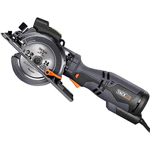 TACKLIFE Scie Circulaire Compacte, 6 Lames (120mm et 115mm), Guide Laser, 710W, Profondeur de Coupe 42,9mm (90°), 34,9mm (45°), Poignée en Métal, Polyvalente...