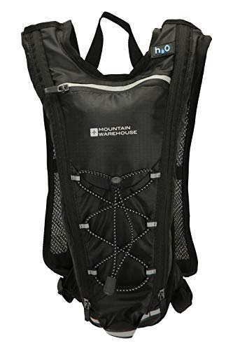 Mountain Warehouse Trail Hydro 2L Bag - 1L Hydration Bladder Backpack, Reflective Details Rucksack, Airmesh Back, Chest & Sternum Strap - for Camping, Cycling, Hiking Black