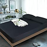 Fitted Sheet Cal King Only 100% Egyptian Cotton , 400 TC Cal King Size Fitted Sheet , 16' Deep Pocket, Colorfast Dyes & Shrink Resistant, Soft & Silky Sateen Weave (Black, California King)