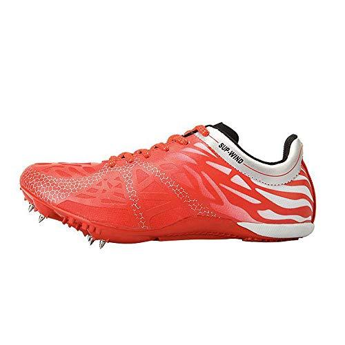 AIALTS Muchacha del Muchacho Joven Zapatos Sprint Profesional Zapatilla De Clavos Y Formación Competición Deportiva De Ultra Ligeros Campo De Atletismo Estudiante Zapatilla De Deporte,Rojo,43