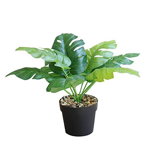 OTARTU Plantas artificiales falsas en jarrón o maceta, plantas tropicales artificiales Monstera Deliciosa con maceta, computadora de...