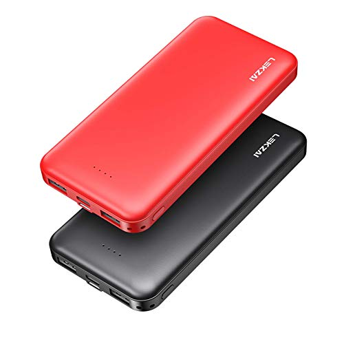Lekzai 2-Pack 10000mAh Portable Charger Power Bank with Dual Output and USB-C (Input Only) Compatible with iPhone, Samsung and More