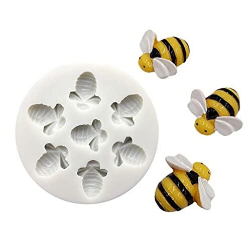 XIANZI Molde de resina epoxi, molde de silicona, molde para 7 tazas, antiadherente, cierre rápido, forma de abeja de miel para cupcakes, pudding postre, mousse