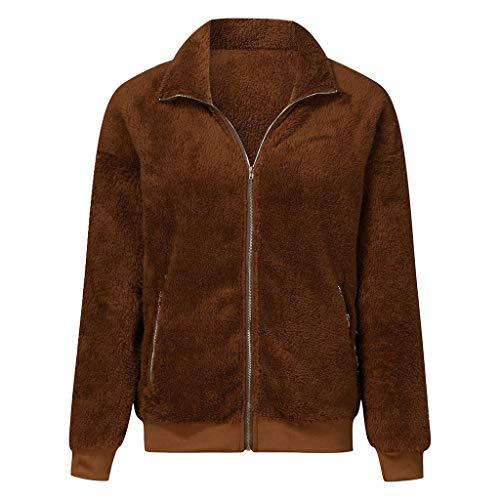 LANWINY Damen Teddyfleecejacke Casual Wintermantel Revers Faux Wolle Warm Outwear Plüsch Winterjacke Coat Winterparka Reißverschluss