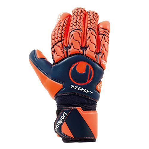 uhlsport Torwarthandschuhe Next Level - Supersoft HN - In den Größe 4-19 Innenhand, Keeper-Handschuhe entwickelt mit Profis-Optimaler Grip, in Kindergrößen verfügbar, Marine/Fluo rot, 5,5