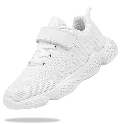 Santiro Kids White Tennis Shoes for Girls Boys Breathable Lightweight Running Shoes Athletic Walking Shoes Fashion Knit Sneakers (Toddler/Little Kid/Big Kid) 2 M US