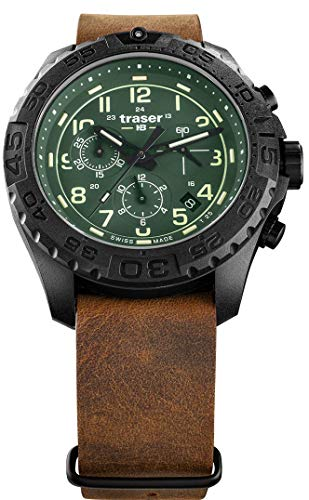 Traser H3 P96 Outdoor Pioneer Evolution Chrono Green Tactical Watch Militär Armbanduhr Leder-NATO Armband