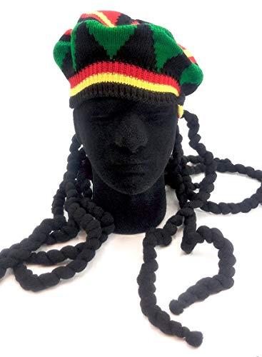 hat Sombrero Estilo jamaicano con rastas, Reggae RastaCap Dress up.