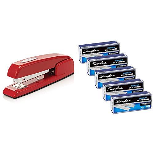 """Swingline Stapler, 747 Iconic Desktop Stapler, 25 Sheet Capacity, Rio Red (74736) & Staples, S.F. 4, Premium, 1/4"""" Length, 210/Strip, 5000/Box, 5 Pack (35481)"""