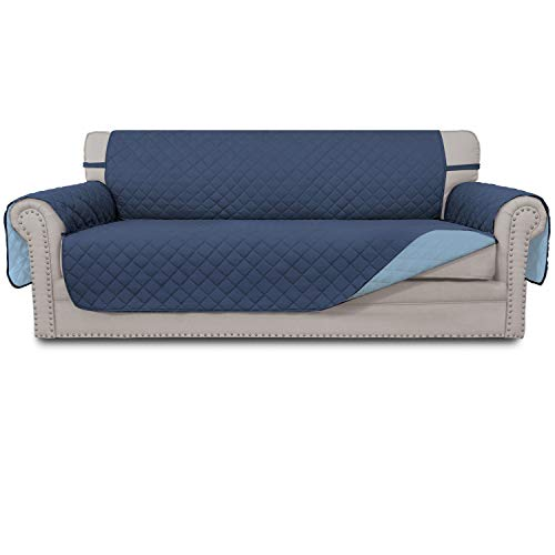 Easy-Going Sofa Slipcover Reversible Sofa Cover Water Resistant Couch Cover Furniture Protector with Elastic Straps for PetsKidsChildrenDogCat(Sofa,Dark Blue/Light Blue)