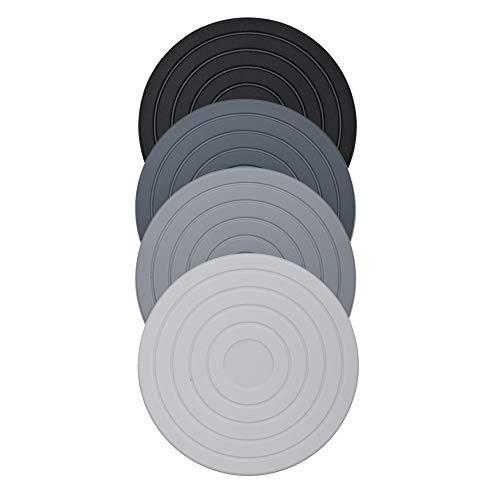Porta Copo Silicone Sortido Conjunto 4 Peças Kenya Cinza 10X10X0.03Cm