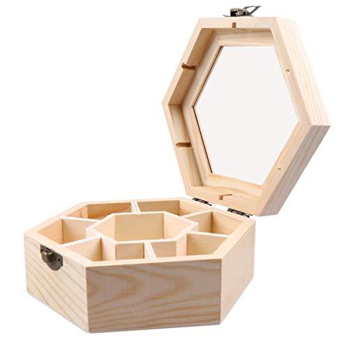 EXCEART Joyero de Madera Hexágono DIY Baratija Recuerdo Organizador de Almacenamiento 7 Compartimentos Clear Top Craft Caja en Blanco para Anillo Pulsera Reloj Collar Pendientes