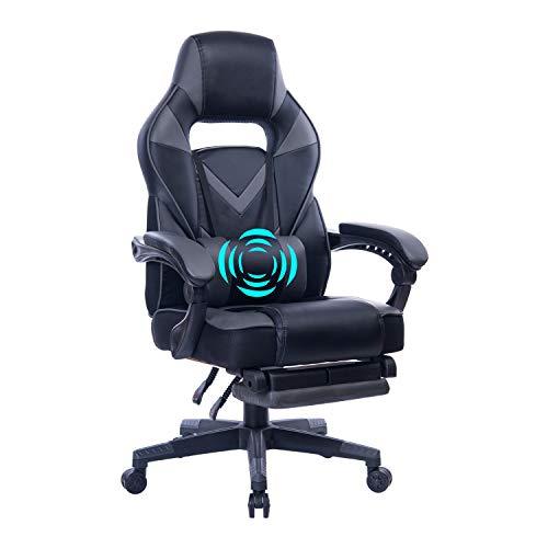 HEALGEN Reclining Gaming Chair with Adjustable Massage Lumbar Pillow and Footrest- Memory Foam PC Computer Racing Chair - Ergonomic High-Back Desk...