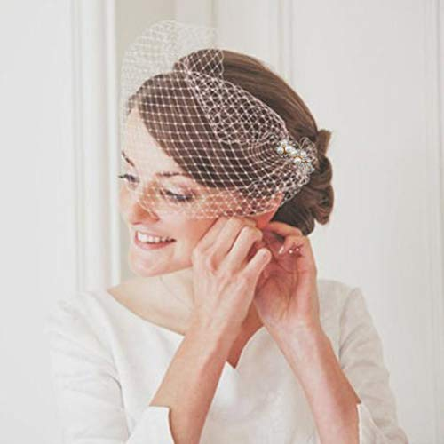 Heread 1920s Pearl Bride Wedding Birdcage Veil White Crystal Bridal Headpiece Accessories with Comb for Women and Girls