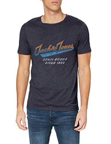 Jack & Jones JJGRAND tee SS Crew Neck Camiseta, Navy Blazer/Fit: Slim. Melange, XL para Hombre