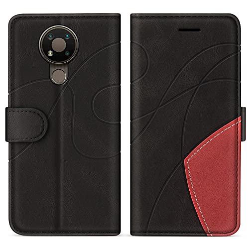 SUMIXON Hülle für Nokia 3.4, PU Leder Brieftasche Schutzhülle für Nokia 3.4, Kratzfestes Handyhülle mit Kartenfächern & Standfunktion, Schwarz