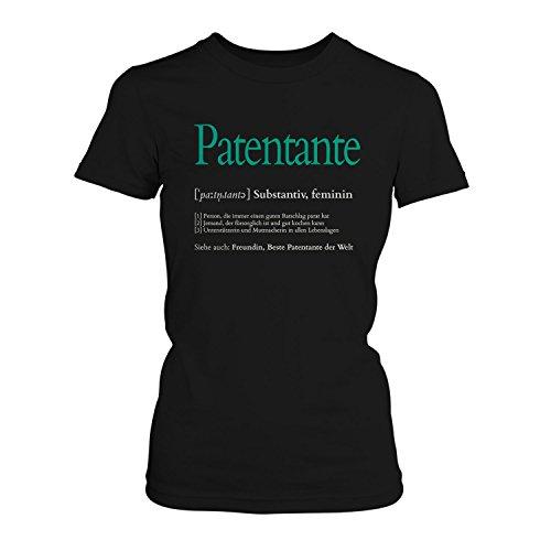 Fashionalarm Damen T-Shirt - Definition Patentante | Fun Shirt mit lustigem Wörterbuch Eintrag als Geburtstag Geschenk Idee Patin Taufpatin Tante, Farbe:schwarz;Größe:L