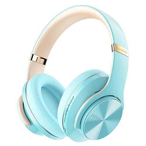 DOQAUS Auriculares Inalámbricos Diadema, [52 Hrs de Reproducción] Hi-Fi Sonido, Cascos Bluetooth con 3 Modos EQ, Micrófono Incorporado y Doble Controlador de 40 mm, para Móviles/Xiaomi/TV (Azul)