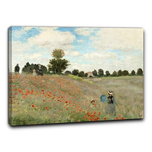 Niik Quadro + Telaio (BC) i Papaveri di Claude Monet 60 x 46 x 1,7 cm Falso d'autore Stampa su Tela