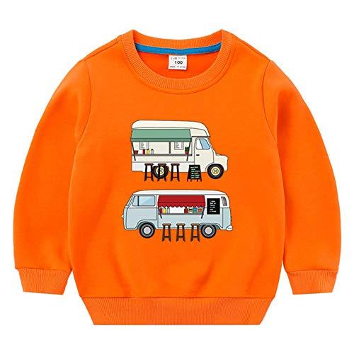 Lishui Jungen Sweatshirts Winter Kind Streetwear Mädchen Drucken Pullover Langarm Verdicken Warm Rundhalsausschnitt Orange 100 (Höhengeeignet:95CM)