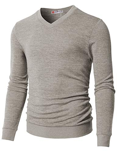 H2H Mens Slim Fit Cable Knit Long Sleeve V-Neck Pullover Sweater Gray US M/Asia L (CMOSWL018)