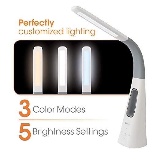 OttLite Cool Breeze LED Fan Lamp with 3 Speed Bladeless Fan, 5 Brightness Settings, White with Grey Flexible Neck