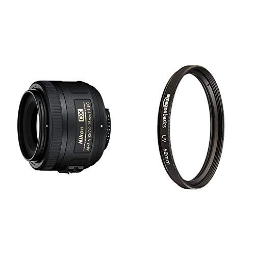 Nikon Obiettivo Nikkor AF-S DX 35 mm f/1.8G, Nero [Versione EU] & Amazon Basics - Filtro di protezione UV - 52mm