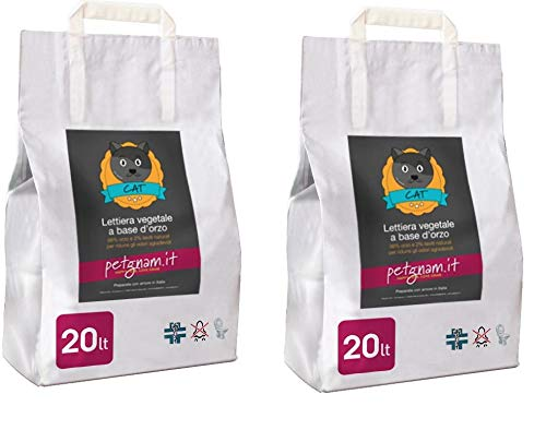 Petgnam 40L Sabbia Vegetale Lettiera Bio Agglomerante Assorbente Smaltibile nel WC Non Si Attacca alle Zampe del Gatto