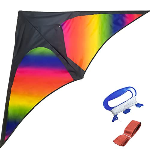 WISHDIAM Kite for Kids and Adults Easy to Fly Rainbow Delta Kite with Long Tail Large Single Line Kite for The Beach/Park/Outdoor Activities, Kite String and Winder Included (Delta Kite)