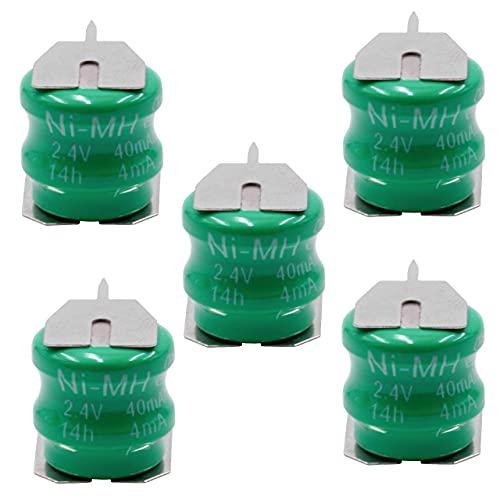 vhbw 5X NiMH Batería de botón de Repuesto Tipo V40H 3 Pines 40 mAh 2,4 V Compatible para lámparas solares, etc.