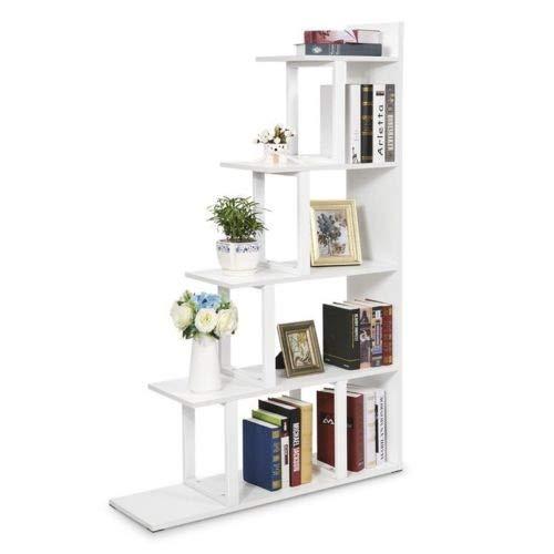 WFHhsxfh Tribesigns 5 Tier Boekenkast Boekenplank Muur Hoek Plank Ladder Opslag Display Meubels Meubels Kleur: wit