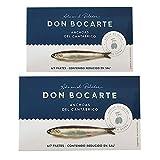 Anchoas Don Bocarte 6-7 filetes en Aceite de Oliva Virgen Extra - Anchoas en Aceite - Lote 2 Latas de Anchoas del Cantabrico - Peso Neto 48 gramos por Unidad