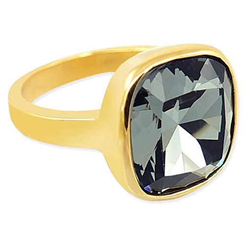 nobel-schmuck Damen-Ring Gold Schwarz mit Kristall von Swarovski